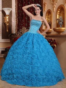 Gorgeous Blue Sweet 16 Dress Ball Gown Strapless Fabric With Rolling Flowers Beading Ball Gown