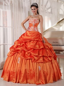 Inexpensive Orange Sweet 16 Dress Sweetheart Taffeta Appliques and Ruch Ball Gown