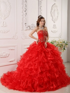 Informal Red Sweet 16 Dress Strapless Organza Ruffles and Embroidery Ball Gown