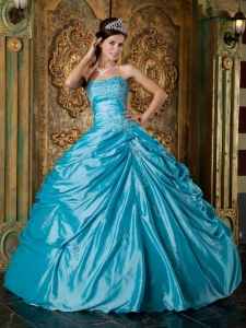 Modest Teal Sweet 16 Quinceanera Dress Strapless Taffeta Appliques Ball Gown