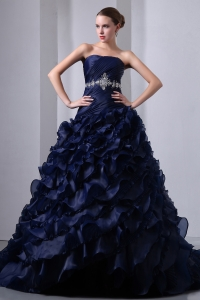 Navy Blue A-Line / Princess Strapless Beading and Ruch Quinceanea Dress Brush Train Taffeta and Organza