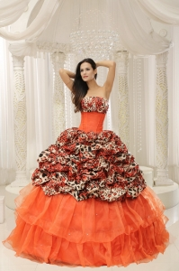 Organza Leopard Sweet 16 Quinceanera Dress With Beaded Decorate