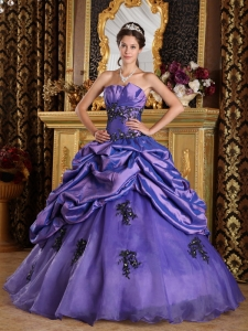 Perfect Purple Sweet 16 Dress Strapless Organza Appliques A-Line / Princess