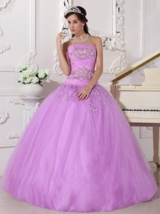 Pretty Lavender Sweet 16 Dress Strapless Taffeta and Tulle Beading Ball Gown