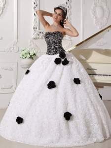 Remarkable White and Black Sweet 16 Dress Strapless Special Fabric Sequins and Hand Made Flowers Ball Gown