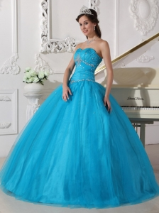 Romantic Teal Sweet 16 Dress Strapless Tulle Beading and Ruch Ball Gown