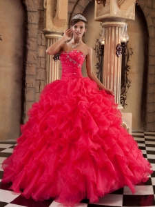 Sexy Coral Red Sweet 16 Quinceanera Dress Sweetheart Ruffles Organza Ball Gown