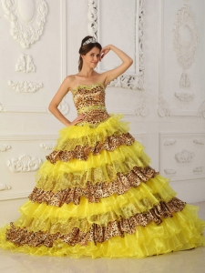 The Most Popular Yellow Sweet 16 Dress Strapless Sweep /Brush Train Leopard and Organza Ruffles A-Line / Princess