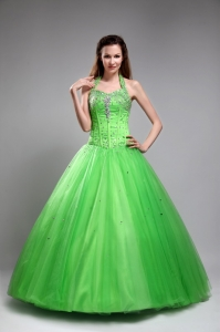 Tulle Beading Sweet 16 Quinceanera Dress 2013 Halter Design Spring Green