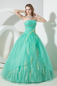 Turquoise Sweet 16 Dress Beading and Embroidery Ball Gown Strapless Floor-length Organza