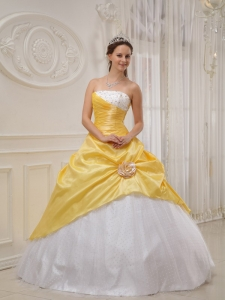 Yellow Ball Gown Strapless Floor-length Taffeta and Tulle Beading Sweet 16 Dress