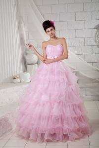 2013 Baby Pink Sweet 16 Dress Ball Gown Sweetheart Organza Beading Floor-length