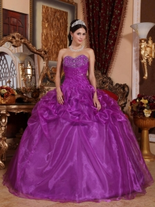 Affordable Eggplant Purple Sweet 16 Dress Sweetheart Floor-length Organza Beading Ball Gown