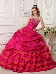 Affordable Red Sweet 16 Quinceanera Dress StraplessTaffeta Beading Ball Gown