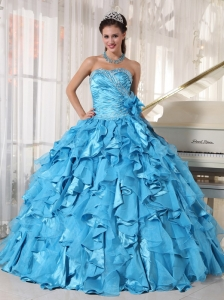 Beautiful Aqua Blue Sweet 16 Dress Sweetheart Floor-length Organza Beading Ball Gown