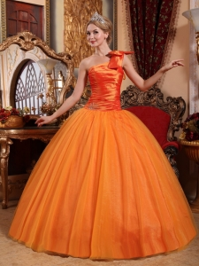 Beautiful Orange Sweet 16 Dress One Shoulder Tulle Beading Ball Gown