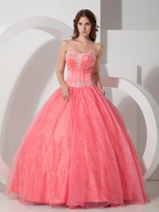 Beautiful Sweet 16 Dress Floor-length Satin and Organza Appliques with Beading