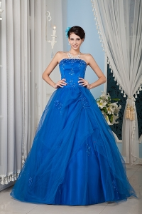 Beautiful Royal Blue 15 Sweet 16 Dress / Princess Strapless Tulle Beading Floor-length