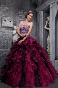 Best Fuchsia and Black Sweet 16 Dress Zebra Print and Ruffles and Beading Ball Gown