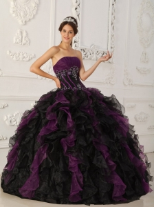 Brand New Purple and Black Sweet 16 Dress Strapless Taffeta and Organza Beading Ball Gown