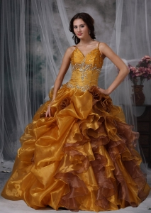 Brown Ball Gown Straps Floor-length Organza Beading Sweet 16 Quinceanera Dress