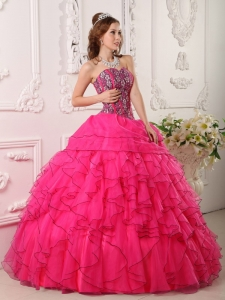 Cheap Hot Pink Sweet 16 Quinceanera Dress Sweetheart Organza Beading Ball Gown