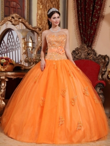 Classical Orange Sweet 16 Dress Sweetheart Tulle Appliques Ball Gown