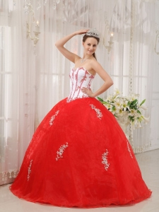 Classical White and Red Sweet 16 Dress Sweetheart Taffeta and Organza Appliques Ball Gown