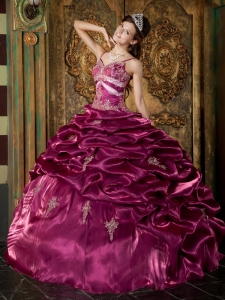 Exquisite Fuchsia Sweet 16 Quinceanera Dress Straps organza Beading Ball Gown