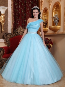 Fashionable Light Blue Sweet 16 Dress One Shoulder Tulle Ruch