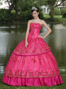 Hand Made Flowers and Beading Floor-length Taffeta Modest Style For 2013 Sweet 16 Dress
