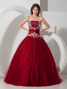 Impression Wine Red Sweet 16 Dress Strapless Satin and Tulle Appliques and Beading