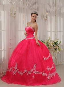 Inexpensive Coral Red Sweet 16 Dress Sweetheart Taffeta and Organza Appliques Ball Gown