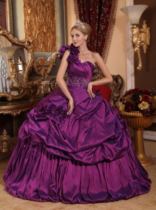 Informal Purple Sweet 16 Dress One Shoulder Taffeta Beading Ball Gown