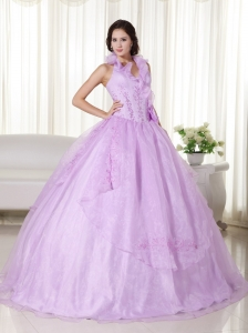 Lavender Ball Gown Halter Floor-length Chiffon Embroidery and Beading Sweet 16 Dress
