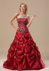 Mississippi Embroidery Decorate Bodice Pick-ups Wine Red Floor-length 2013 Sweet 16 Dress