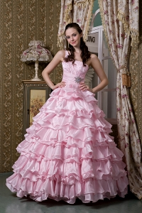 New Baby Pink One Shoulder 15 Quinceanea Dress Elastic Woven Satin Beading Ruffled Layers Floor-length