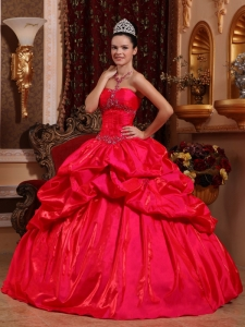 New Red Sweet 16 Quinceanera Dress Strapless Taffeta Beading Ball Gown