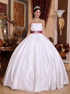 New White Sweet 16 Dress Strapless Taffeta Sashes / Ribbons Ball Gown