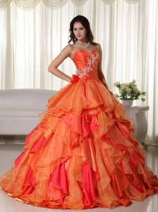 Orange Ball Gown Sweetheart Floor-length Organza Appliques Sweet 16 Dress
