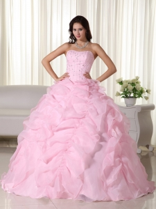 Baby Pink Ball Gown Strapless Floor-length Organza Beading Sweet 16 Dress