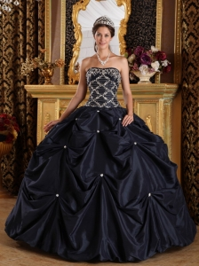 Popular Black Sweet 16 Quinceanera Dress Strapless Beading Taffeta Ball Gown