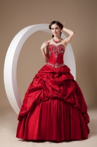 Red Sweetheart Floor-length Taffeta Appliques Sweet 16 Quinceanera Dress