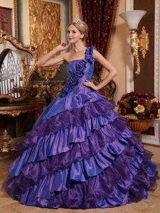 Remarkable Purple Sweet 16 Dress One Shoulder Taffeta and Organza Hand Made Flowers Ball Gown
