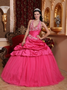 Romantic Hot Pink Sweet 16 Quinceanera Dress Halter Taffeta Appliques Ball Gown