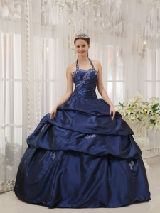 Simple Navy Blue Sweet 16 Quinceanera Dress Halter Taffeta Appliques Ball Gown