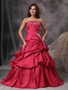 Special Coral Red A-Line / Princess Strapless Prom Dress Taffeta Beading