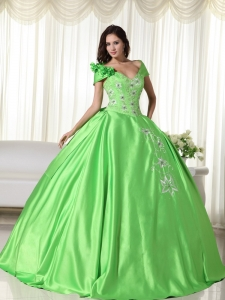 Spring Green Ball Gown Off the Shoulder Floor-length Taffeta Embroidery Sweet 16 Dress