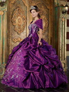The Super Hot Purple Sweet 16 Dress Strapless Taffeta Embroidery Ball Gown