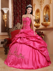 Wonderful Hot Pink Sweet 16 Dress Sweetheart Taffeta Appliques Ball Gown